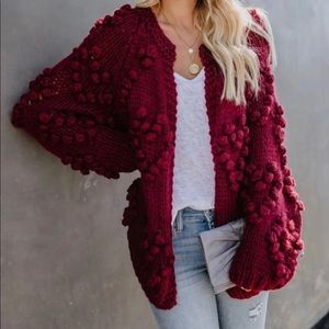 VICI Heartwarming Chunky Knit Cardigan in Wine MED